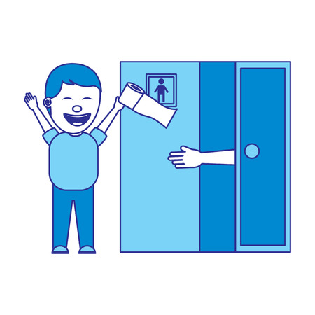 man jokes to the friend removing toilet paper from the bathroom fools day vector illustration blue image