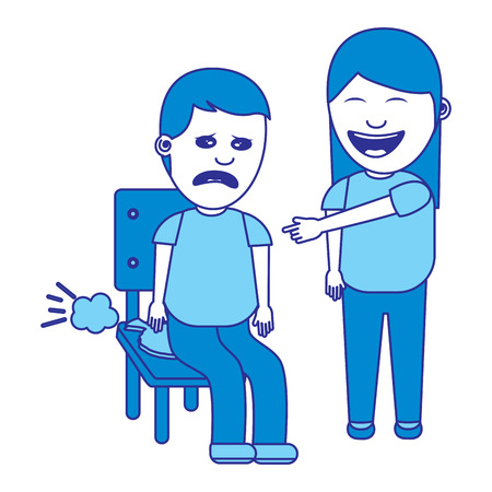 woman make joke a friend with cushion fools day vector illustration blue image