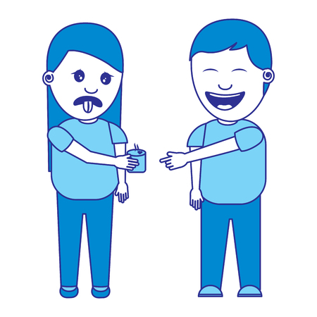 man smiling a woman prank drinking fools day vector illustration blue image Stockfoto - 96864612