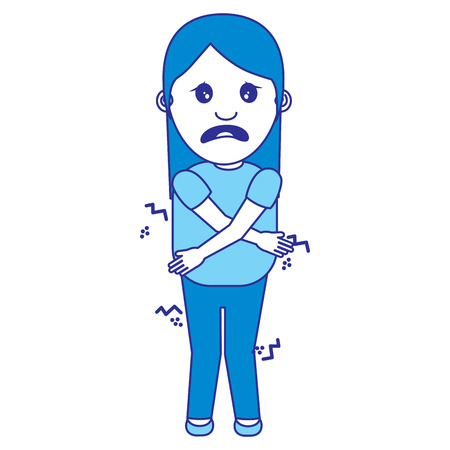 woman itch sensation for a joke vector illustration blue image