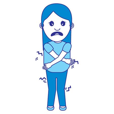 woman itch sensation for a joke vector illustration blue image Banque d'images - 96864614