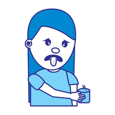 portrait young woman holding in hand beverage unpleasant vector illustration blue image Archivio Fotografico - 96866521