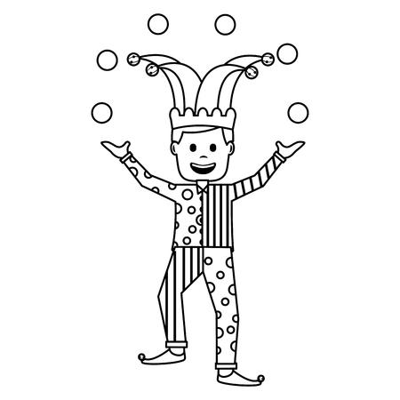 fools day joker make trick balls surprise box vector illustration outline image