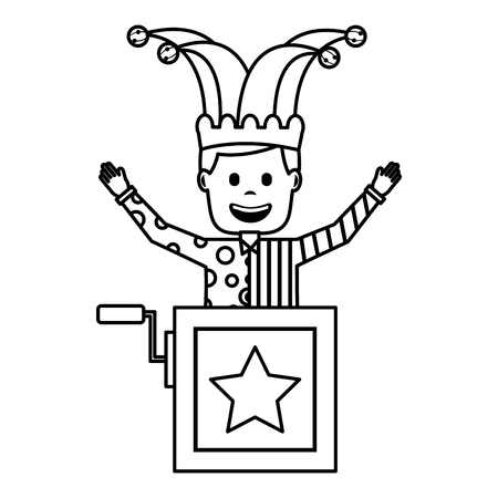funny jack in the box with jester hat raised arms vector illustration outline image Illustration