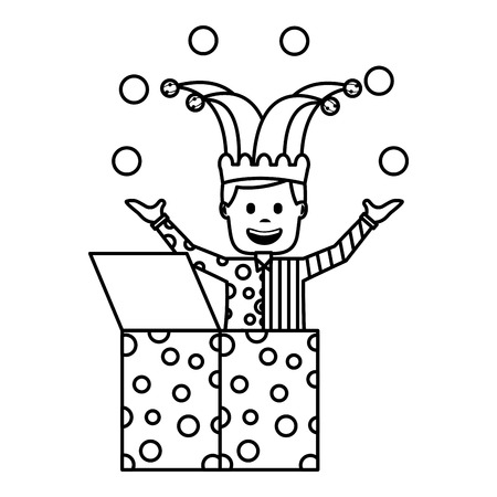 happy joker in the box with jester hat and balls trick vector illustration outline image