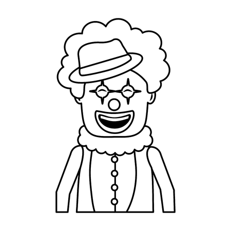 portrait happy clown with makeup and hat vector illustration outline image
