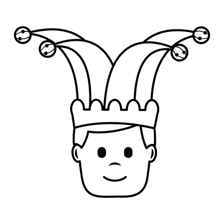 happy face man with jester hat character vector illustration outline image