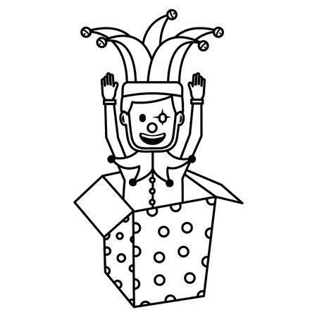 joker with clown mask in the box prank hands up fools vector illustration outline image Standard-Bild - 96867061