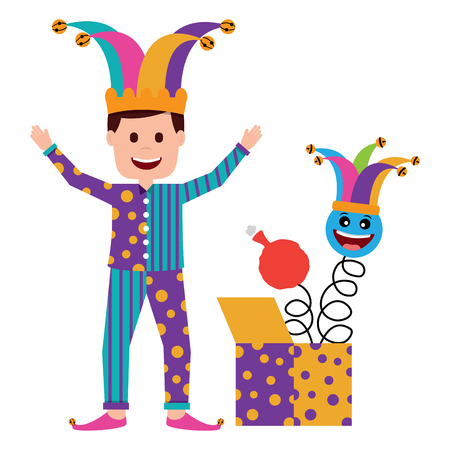clown man standing with surprise box and emoticon cushion vector illustration