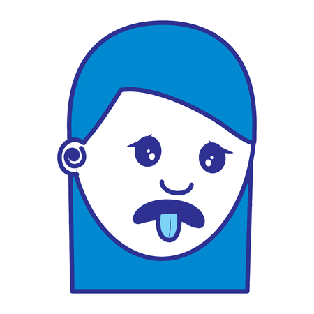 woman with nasty tongue gesture outside vector illustration blue image Çizim