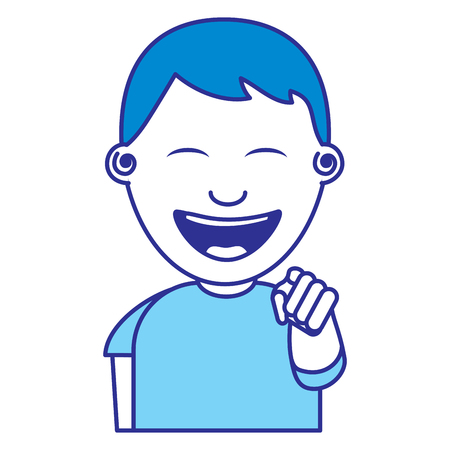 portrait of happy young teenager boy smiling pointing with finger vector illustration blue image