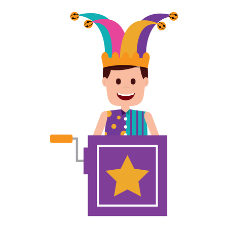 jack in the box surprise with jester and clothes hat vector illustration