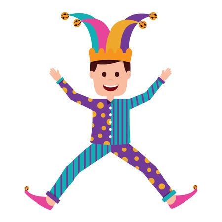joker jumping surprise fools day character happy vector illustration