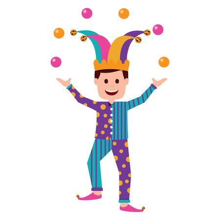 fools day joker make trick balls surprise box vector illustration