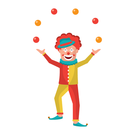 happy smiling clown juggling balls show character vector illustration
