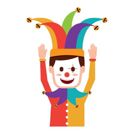 cartoon man with clown mask jester hat funny vector illustration