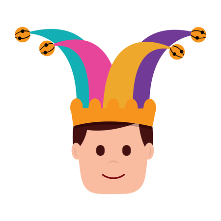 happy face man with jester hat character vector illustration