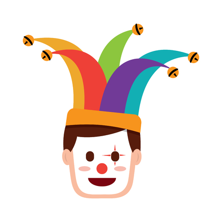 face man with clown mask and jester hat decoration vector illustration