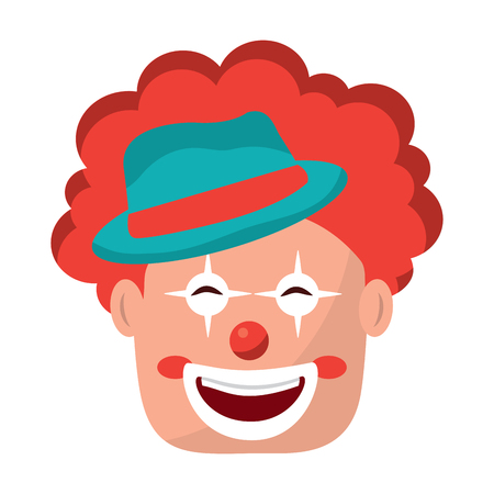 smiling clown face with hat and hair red vector illustration Ilustração