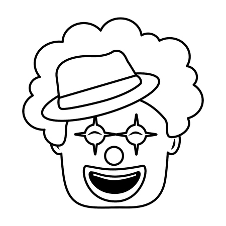 smiling clown face with hat and hair funny vector illustration Иллюстрация