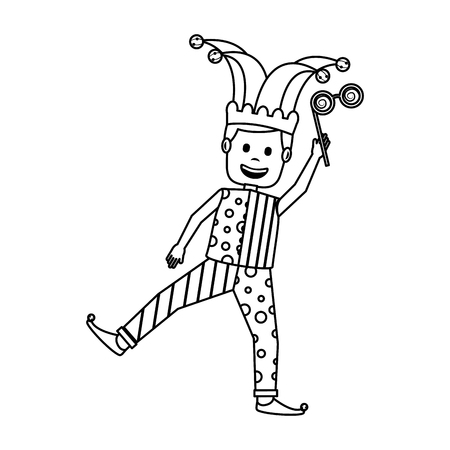 happy man wearing clown clothes holding silly glasses vector illustration