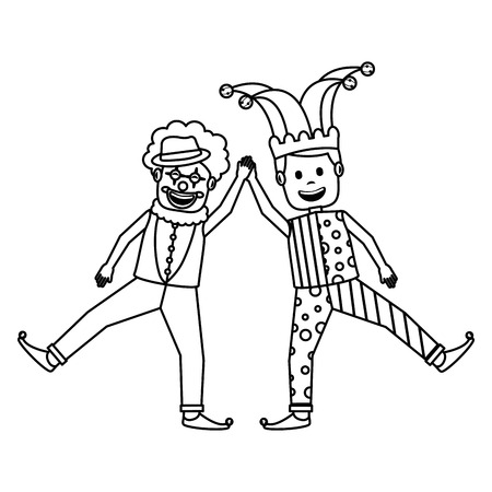 funny happy clown and man with jester clothes hat characters vector illustration