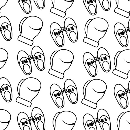 shoe tied laces and gloves joke fools pattern vector illustration