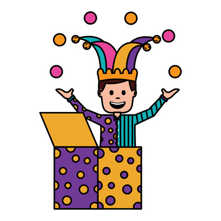 happy joker in the box with jester hat and balls trick vector illustration