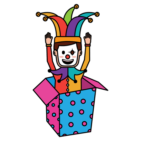 joker with clown mask in the box prank hands up fools vector illustration