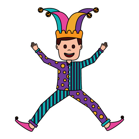 joker jumping surprise fools day character happy vector illustration