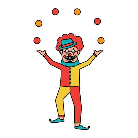 happy smiling clown juggling balls show character vector illustration