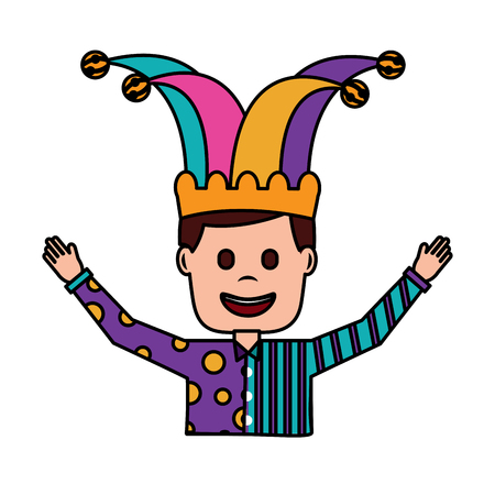 portrait man in clown clothes and jester hat vector illustration