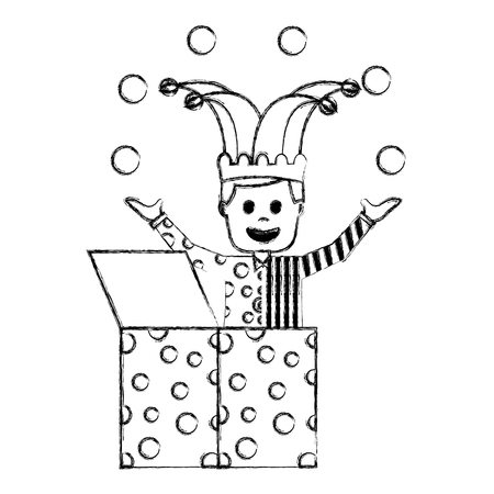 happy joker in the box with jester hat and balls trick vector illustration sketch image Stock Illustratie