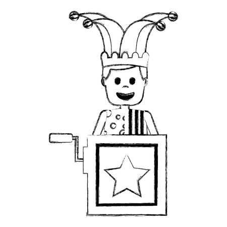 jack in the box surprise with jester and clothes hat vector illustration sketch image