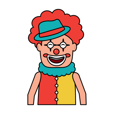 portrait happy clown with makeup and hat vector illustration