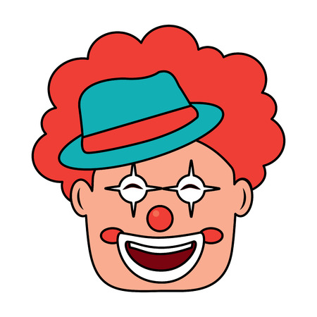 smiling clown face with hat and hair red vector illustration Banco de Imagens - 96858248