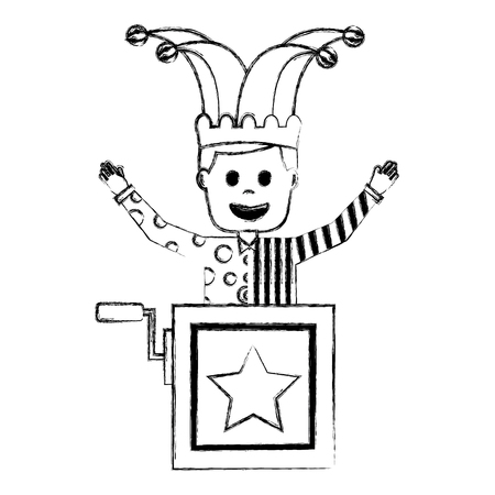 joker jumping jack in the box surprise fools day vector illustration sketch image