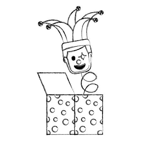 fools day surprise clown in jack box springing up vector illustration sketch image