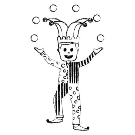 fools day joker make trick balls surprise box vector illustration sketch image Ilustração