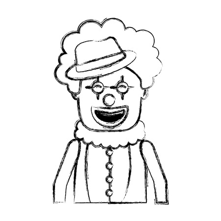 portrait happy clown with makeup and hat vector illustration sketch image