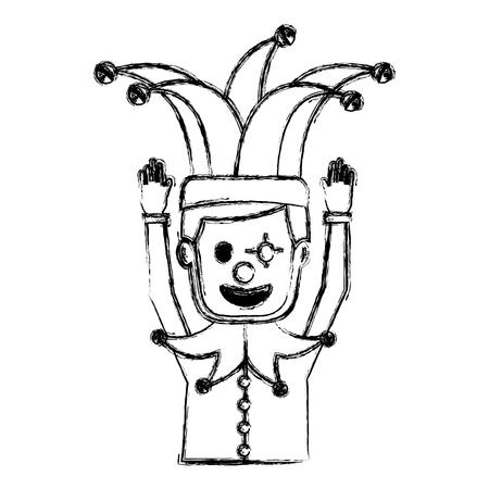 광대 마스크 광대 모자 재미 벡터 일러스트 스케치 이미지와 만화 남자 일러스트