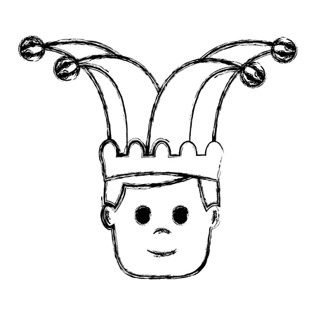 happy face man with jester hat character vector illustration sketch image