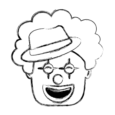smiling clown face with hat and hair funny vector illustration sketch image Ilustração