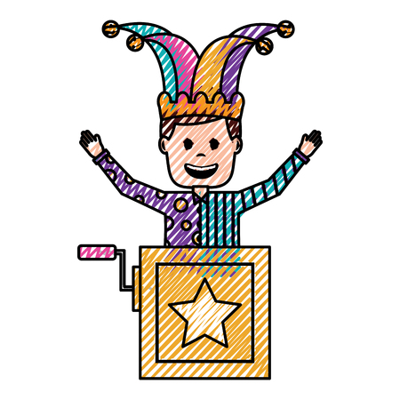 joker jumping jack in the box surprise fools day vector illustration drawing color image