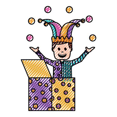 happy joker in the box with jester hat and balls trick vector illustration drawing color image