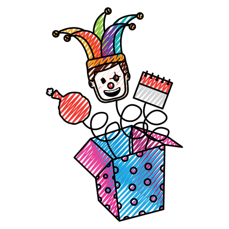 fools day jack in the box with mask clown calendar and cushion vector illustration drawing color image Illustration
