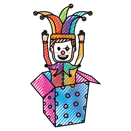 joker with clown mask in the box prank hands up fools vector illustration drawing color image Standard-Bild - 96856216