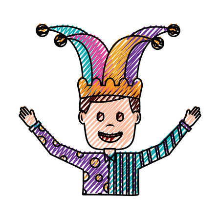 portrait man in clown clothes and jester hat vector illustration drawing color image Illustration