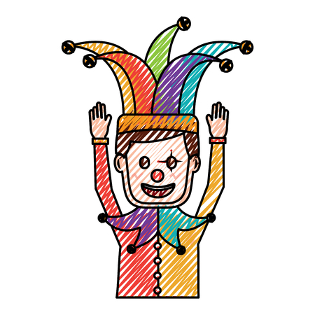 cartoon man with clown mask jester hat funny vector illustration drawing color image