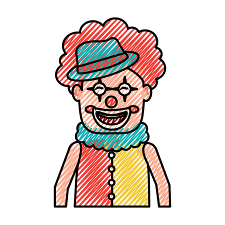 portrait happy clown with makeup and hat vector illustration drawing color image